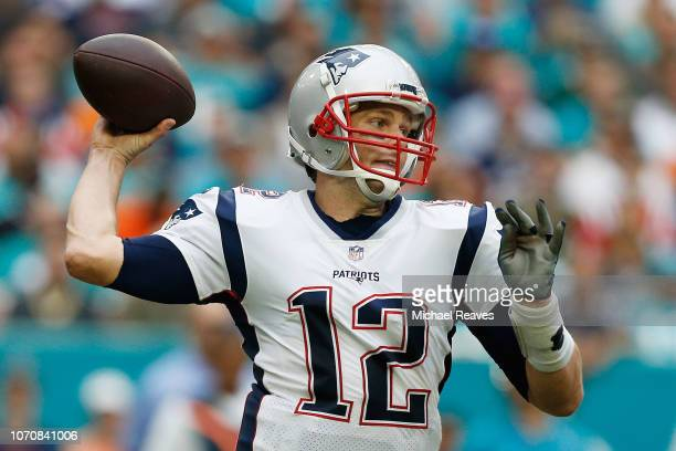 Tom Brady of the New England Patriots passes during the second half against the Miami Dolphins at Hard Rock Stadium on December 9 2018 in Miami...