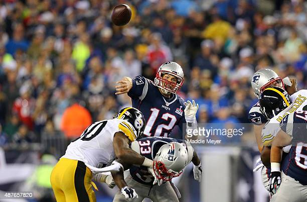Tom Brady of the New England Patriots passes in the first half against the Pittsburgh Steelers at Gillette Stadium on September 10 2015 in Foxboro...