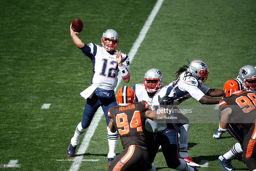Tom Brady #12 of the New England Patriots passes in the first quarter of the game against the Cleveland Browns at FirstEnergy Stadium on October 9, 2016 in Cleveland, Ohio.