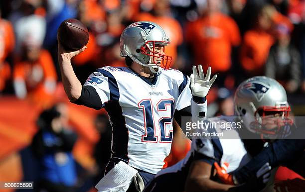 Tom Brady of the New England Patriots passes in the first quarter against the Denver Broncos in the AFC Championship game at Sports Authority Field...