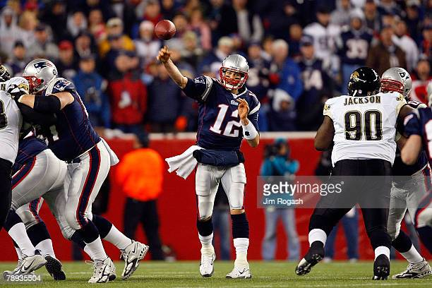 Tom Brady of the New England Patriots passes the ball against the Jacksonville Jaguars during the AFC Divisional playoff game at Gillette Stadium...