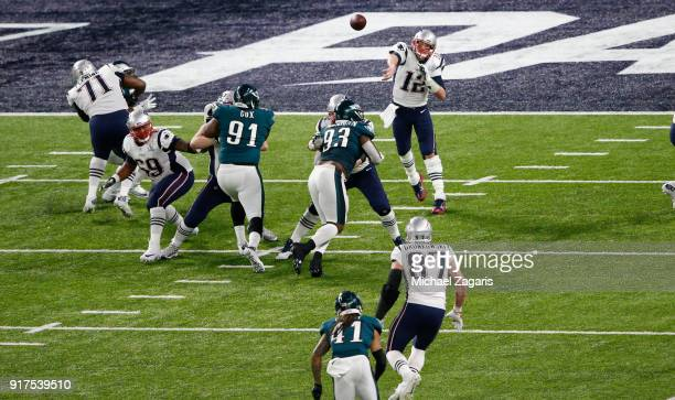 Tom Brady of the New England Patriots passes to Rob Gronkowski during the game against the Philadelphia Eagles in Super Bowl LII at US Bank Stadium...