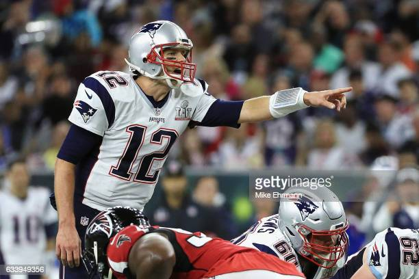 Tom Brady of the New England Patriots points out coverage against the Atlanta Falcons in the second quarter during Super Bowl 51 at NRG Stadium on...