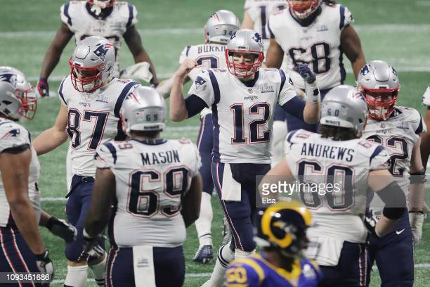 Tom Brady of the New England Patriots reacts after a catch is completed to Rob Gronkowski of the New England Patriots in the second half during Super...