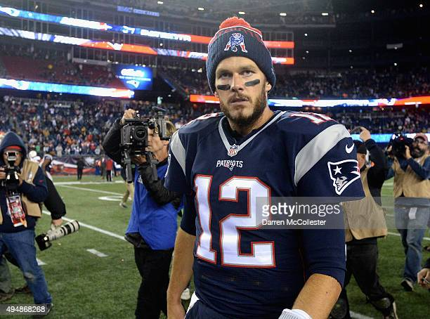 Tom Brady of the New England Patriots reacts after a game against the Miami Dolphins at Gillette Stadium on October 29 2015 in Foxboro Massachusetts