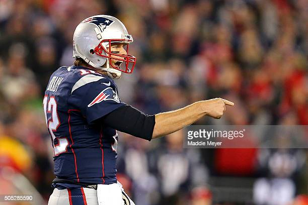 Tom Brady of the New England Patriots reacts after a play in the second quarter against the Kansas City Chiefs during the AFC Divisional Playoff Game...