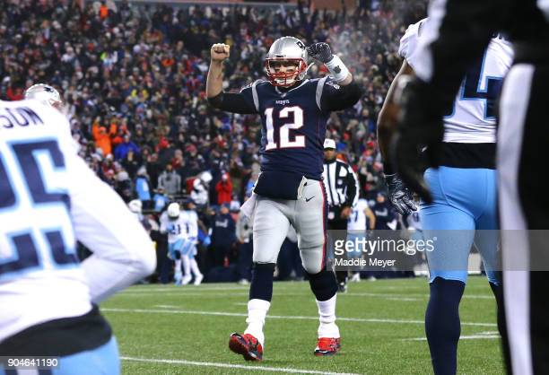 Tom Brady of the New England Patriots reacts after a touchdown in the second quarter of the AFC Divisional Playoff game against the Tennessee Titans...