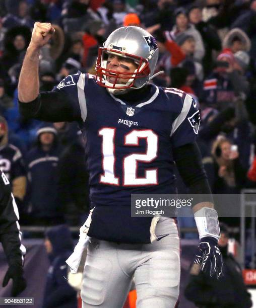 Tom Brady of the New England Patriots reacts after a touchdown in the third quarter of the AFC Divisional Playoff game against the Tennessee Titans...