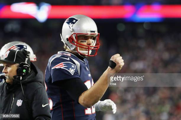 Tom Brady of the New England Patriots reacts after a touchdown in the fourth quarter during the AFC Championship Game against the Jacksonville...