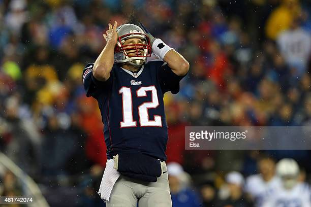 Tom Brady of the New England Patriots reacts after an incomplete pass in the first quarter against the Indianapolis Colts of the 2015 AFC...