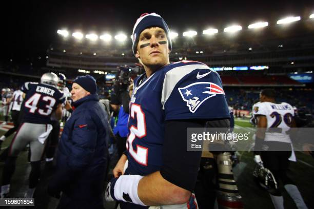 Tom Brady of the New England Patriots reacts after being defeated by the Baltimore Ravens in the 2013 AFC Championship game at Gillette Stadium on...