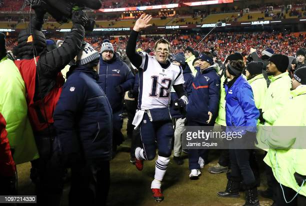 Tom Brady of the New England Patriots reacts after defeating the Kansas City Chiefs in overtime during the AFC Championship Game at Arrowhead Stadium...
