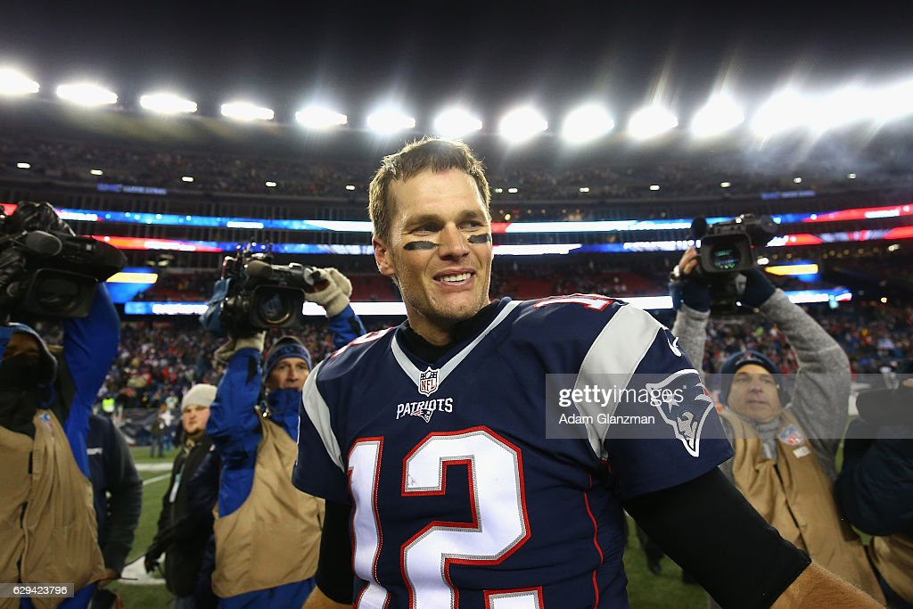 Tom Brady #12 of the New England Patriots reacts after defeating the Baltimore Ravens 30-23 at Gillette Stadium on December 12, 2016 in Foxboro, Massachusetts.