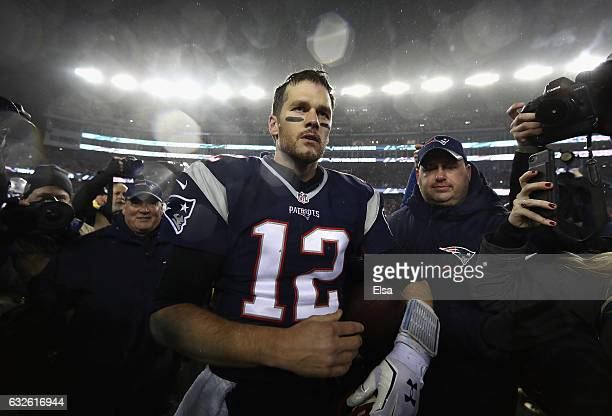 Tom Brady of the New England Patriots reacts after defeating the Pittsburgh Steelers 3617 to win the AFC Championship Game at Gillette Stadium on...