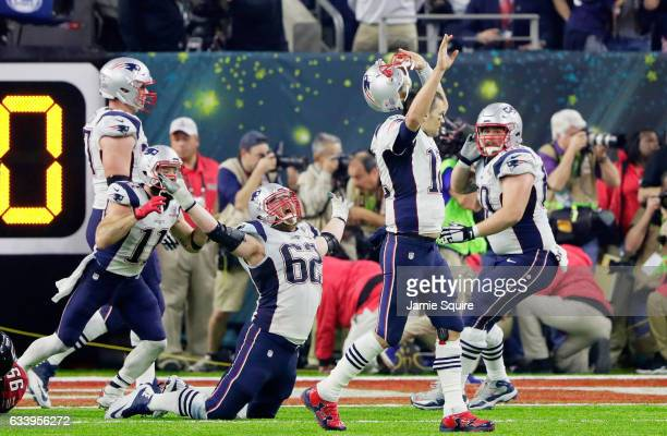 Tom Brady of the New England Patriots reacts after defeating the Atlanta Falcons 3428 in overtime during Super Bowl 51 at NRG Stadium on February 5...