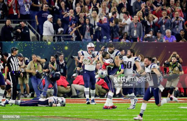 Tom Brady of the New England Patriots reacts after defeating the Atlanta Falcons 3428 in overtime to win Super Bowl 51 at NRG Stadium on February 5...