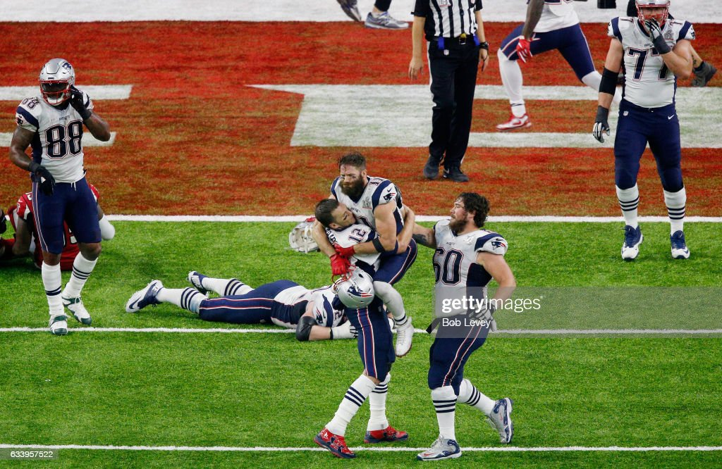 Tom Brady #12 of the New England Patriots reacts after defeating the Atlanta Falcons 34-28 in overtime during Super Bowl 51 at NRG Stadium on February 5, 2017 in Houston, Texas.