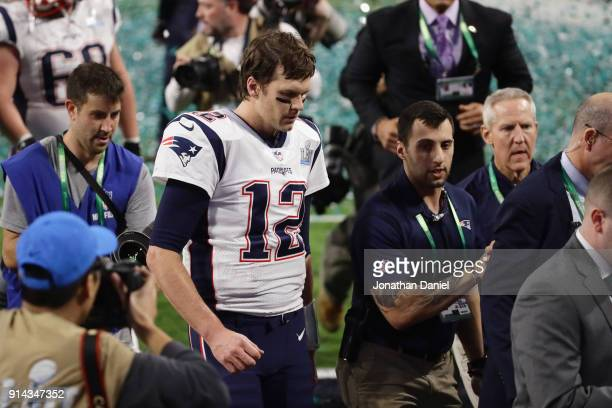 Tom Brady of the New England Patriots reacts after losing Super Bowl LII to the Philadelphia Eagles 4133 at US Bank Stadium on February 4 2018 in...