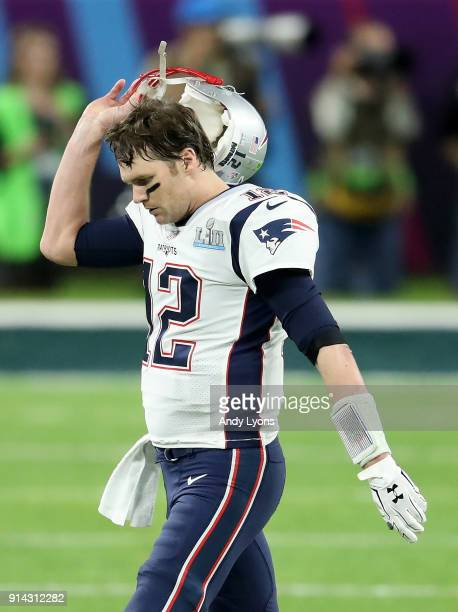 Tom Brady of the New England Patriots reacts against the Philadelphia Eagles during the second quarter in Super Bowl LII at U.S. Bank Stadium on...
