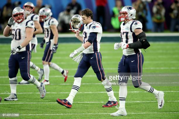 Tom Brady of the New England Patriots reacts against the Philadelphia Eagles during the second quarter in Super Bowl LII at US Bank Stadium on...