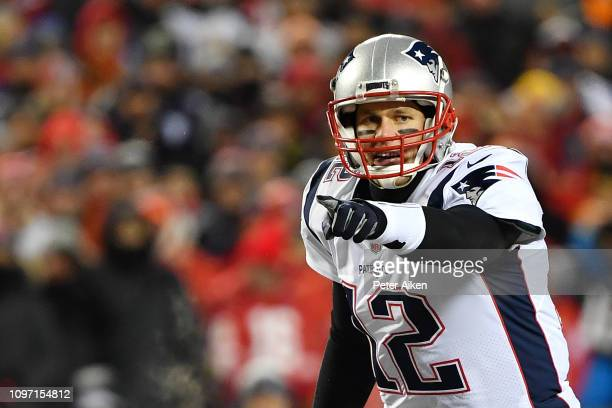 Tom Brady of the New England Patriots reacts at the line of scrimmage in the first quarter against the Kansas City Chiefs during the AFC Championship...