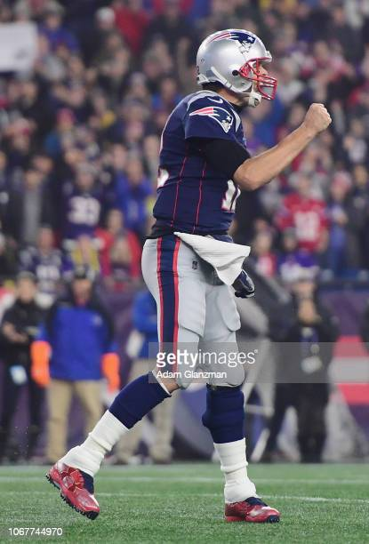 Tom Brady of the New England Patriots reacts during the first half against the Minnesota Vikings at Gillette Stadium on December 2 2018 in Foxborough...
