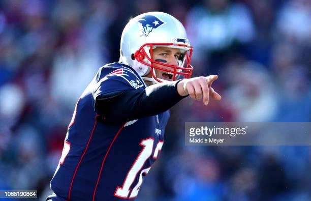 Tom Brady of the New England Patriots reacts during the first quarter of a game against the New York Jets at Gillette Stadium on December 30 2018 in...