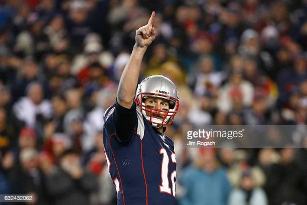 Tom Brady of the New England Patriots reacts during the second half against the Pittsburgh Steelers in the AFC Championship Game at Gillette Stadium...