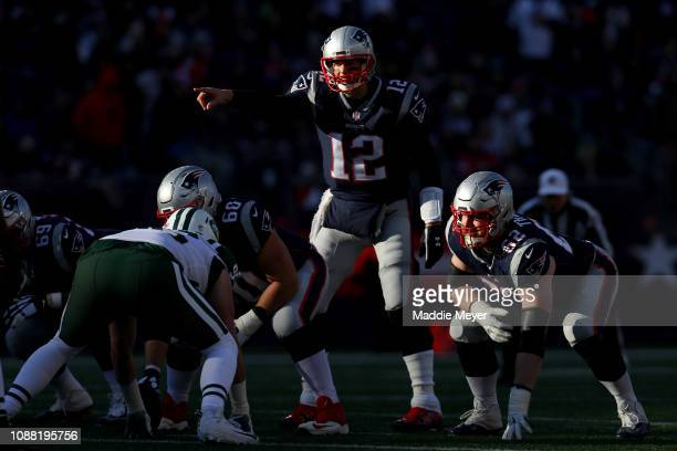 Tom Brady of the New England Patriots reacts during the second quarter of a game against the New York Jets at Gillette Stadium on December 30 2018 in...