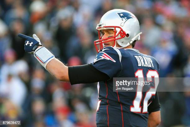 Tom Brady of the New England Patriots reacts during the second quarter of a game against the Miami Dolphins at Gillette Stadium on November 26 2017...
