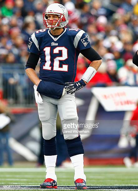 Tom Brady of the New England Patriots reacts during the second quarter against the Buffalo Bills at Gillette Stadium on December 28 2014 in Foxboro...