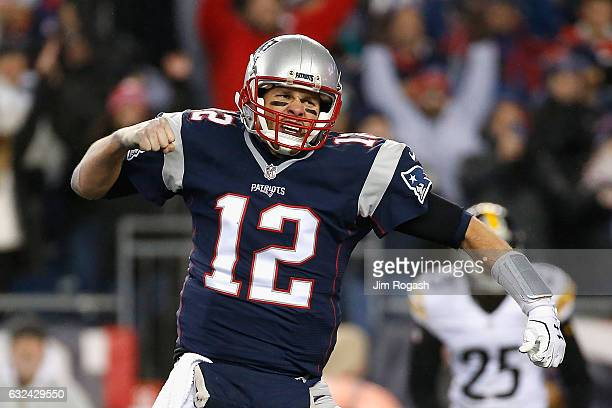 Tom Brady of the New England Patriots reacts during the third quarter against the Pittsburgh Steelers in the AFC Championship Game at Gillette...