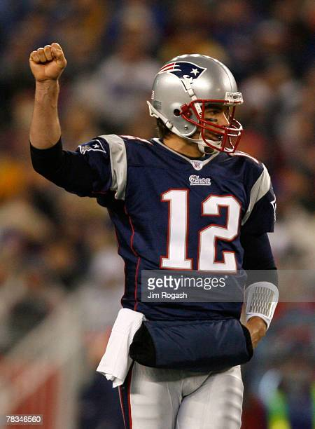 Tom Brady of the New England Patriots reacts in the second quarter after earning a first down against the Pittsburgh Steelers at Gillette Stadium...