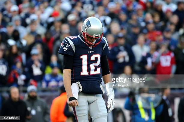 Tom Brady of the New England Patriots reacts in the second quarter during the AFC Championship Game against the Jacksonville Jaguars at Gillette...