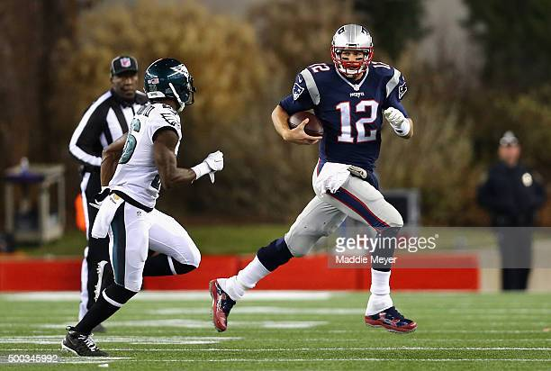 Tom Brady of the New England Patriots runs with the ball against the Philadelphia Eagles at Gillette Stadium on December 6 2015 in Foxboro...