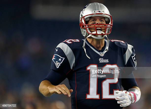 Tom Brady of the New England Patriots screams before a game against the Cincinnati Bengals at Gillette Stadium on October 5 2014 in Foxboro...