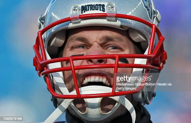 Tom Brady of the New England Patriots screams out before the NFL Divisional Round playoff game against the Los Angeles Chargers at Gillette Stadium...