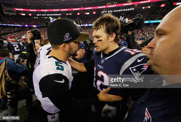 Tom Brady of the New England Patriots shakes hands with Blake Bortles of the Jacksonville Jaguars after the AFC Championship Game at Gillette Stadium...