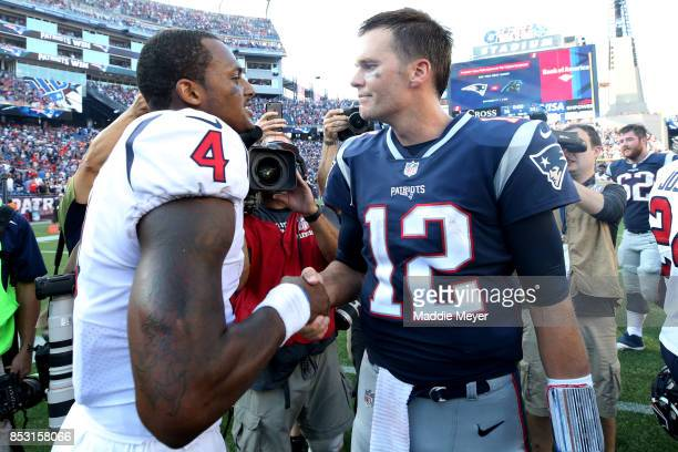 Tom Brady of the New England Patriots shakes hands with Deshaun Watson of the Houston Texans after the Patriots defeat the Texans 36-33 at Gillette...