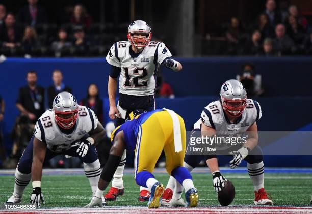 Tom Brady of the New England Patriots shouts in the second half Super Bowl LIII at MercedesBenz Stadium on February 3 2019 in Atlanta Georgia