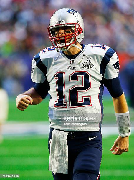 Tom Brady of the New England Patriots shouts prior to playing in Super Bowl XLIX at University of Phoenix Stadium on February 1 2015 in Glendale...