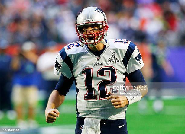 Tom Brady of the New England Patriots shouts prior to playing in Super Bowl XLIX at University of Phoenix Stadium on February 1, 2015 in Glendale,...
