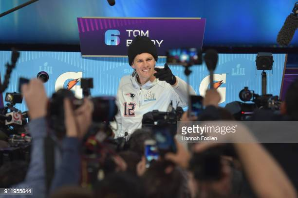 Tom Brady of the New England Patriots speaks to the media during Super Bowl LII Media Day at Xcel Energy Center on January 29 2018 in St Paul...