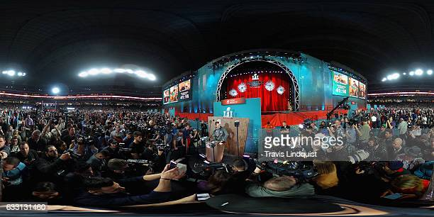 Tom Brady of the New England Patriots speaks with the media during Super Bowl 51 Opening Night at Minute Maid Park on January 30 2017 in Houston Texas
