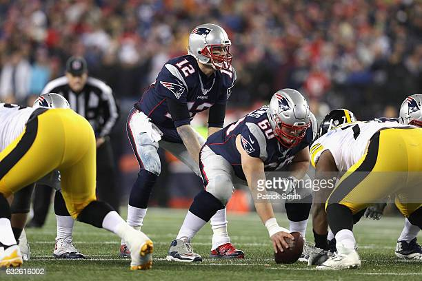 Tom Brady of the New England Patriots stands under center against the Pittsburgh Steelers in the AFC Championship Game at Gillette Stadium on January...