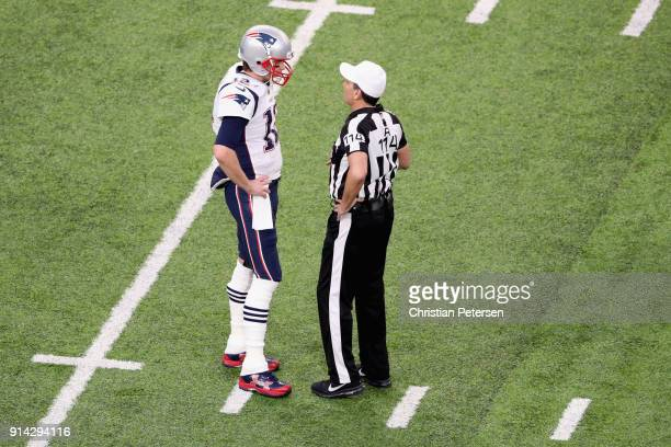 Tom Brady of the New England Patriots talks to referee Gene Steratore prior to the game against the Philadelphia Eagles in Super Bowl LII at U.S....