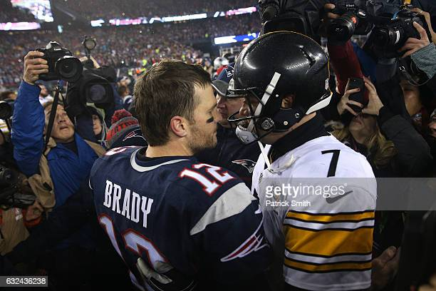 Tom Brady of the New England Patriots talks with Ben Roethlisberger of the Pittsburgh Steelers after the Patriots defeated the Steelers 36-17 to win...
