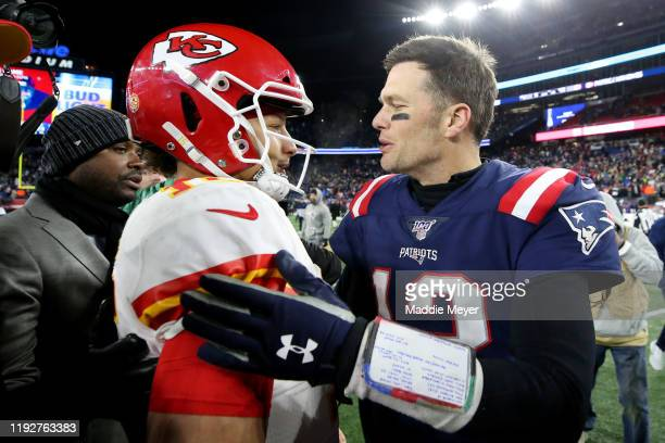 Tom Brady of the New England Patriots talks with Patrick Mahomes of the Kansas City Chiefs after the Chief defeat the Patriots 2316 at Gillette...