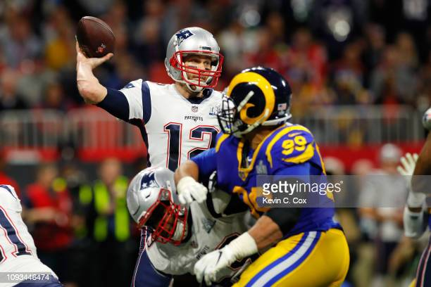 Tom Brady of the New England Patriots thorws a pass against the Los Angeles Rams in the second quarter during Super Bowl LIII against the Los Angeles...