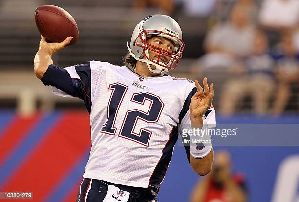 Tom Brady of the New England Patriots throws a first quarter pass against the New York Giants on September 2 2010 at the New Meadowlands Stadium in...